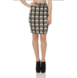 Voodoo Vixen Skull Crossbone Pencil Skirt