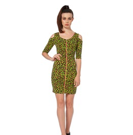 Voodoo Vixen Green Leopard Print Bodycon Dress