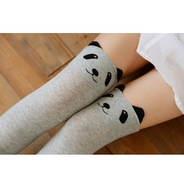 Kawaii Panda Face Knee High Socks Light Grey