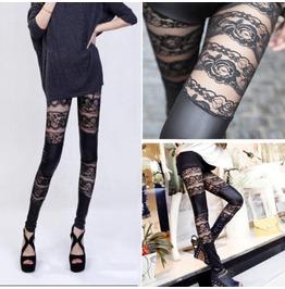 Women Sexy Punk Women Lace Faux Pu Leather Lace Leggings Vogue Tights Pants