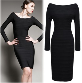 Stylish Shoulder Slim Fit Black Dress