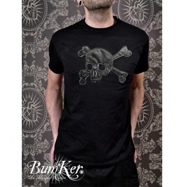 Embroidered Black Tee Shirt / Used Vinyl Skull