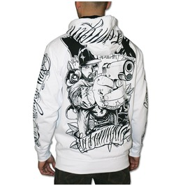 """Reloaded"" Zip Hoodie White Wax. High Quality, Super Heavyweight Zip Hoodie, Embroidery/Printed."