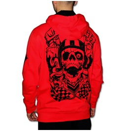 """Riders"" Zip Hoodie Red Wax. High Quality, Super Heavyweight Zip Hoodie, Embroidery Printed."