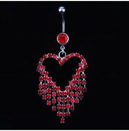 Awesome Red Crystal Surgical Stainless Steel Silver Love Heart Belly Bar