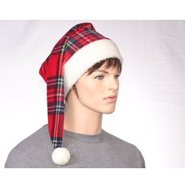Victorian Style Stocking Cap Red Plaid Santa Cap Alternative Christmas Elf Hat Sherpa Headband