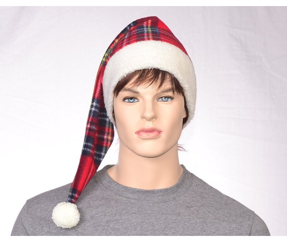 victorian_style_stocking_cap_red_plaid_santa_cap_alternative_christmas_elf_hat_sherpa_headband_costumes_and_masks_5.JPG