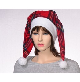 Two Pointed Plaid Santa Hat Christmas Harlequin Cap Pompoms Faux Fur Headband