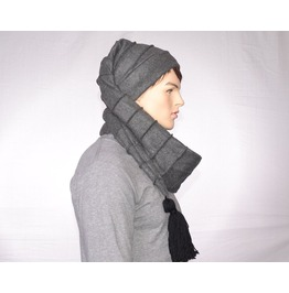 Gothic Long Scarf Hat Charcoal Gray Stocking Cap Fleece 5 Foot Long Wrap Around Beanie Adult Men Women