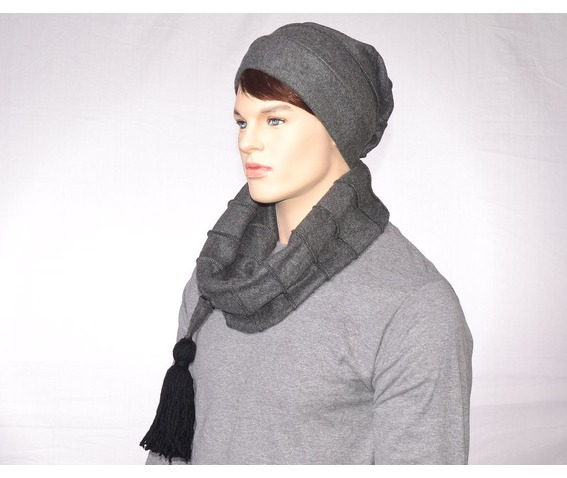 gothic_long_scarf_hat_charcoal_gray_stocking_cap_fleece_5_foot_long_wrap_around_beanie_adult_men_women_hats_and_caps_6.JPG