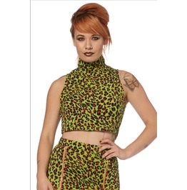 Jawbreaker Acid Green Leopard Polo Neck Crop Top