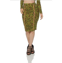 Jawbreaker Green Leopard Print Pencil Skirt