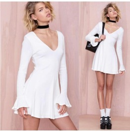 Casual Long Sleeves White Short Dress