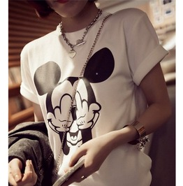 White/Gray Middle Finger Mickey Printed Short Sleeve T Shirt