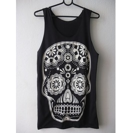 Skull Human Face Pop Art Fashion Indie Rock Tank Top M