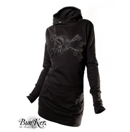 Dress Hoodie Embroidered Used Leather Skull
