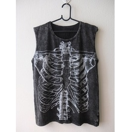 Skull Dead Body Soul Cool Print Punk Rock Stone Wash Vest Tank Top M