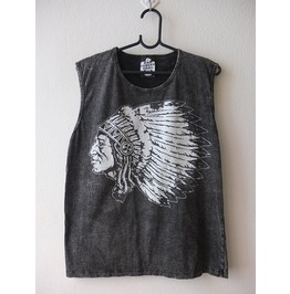 Indian Cool Print Fashion Pop Punk Rock Stone Wash Vest Tank Top M