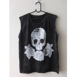 Skull Roses Fashion Punk Rock Stone Wash Vest Tank Top M