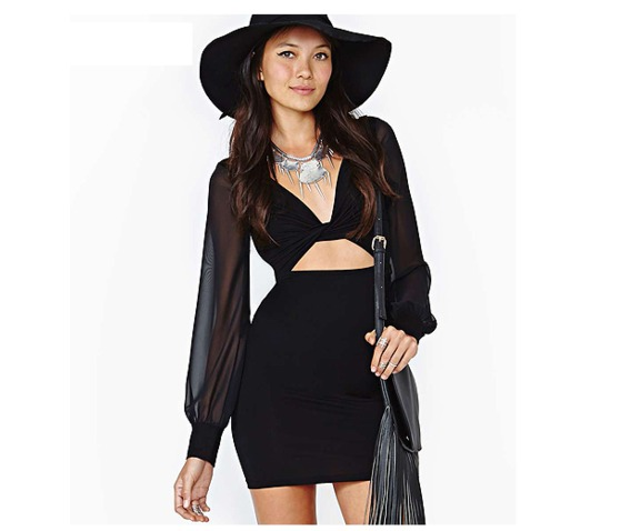 sexy_deep_cut_neckline_gauze_sleeves_black_short_dress_dresses_6.PNG