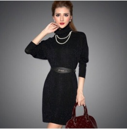 Elegant Turtle Neck Black Short Dress