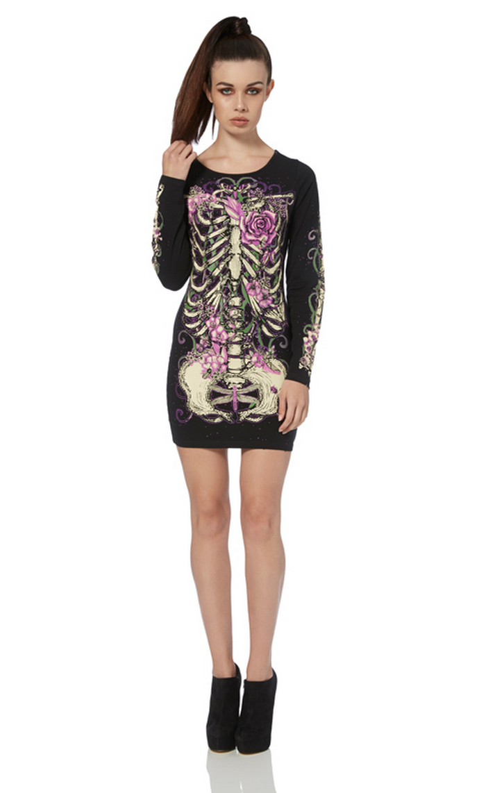 Kreepsville White Skeleton Tunic Dress with a bleached out skeleton print on the front and Kreepsville logo on the back shoulders. We have been looking for the perfect skeleton .