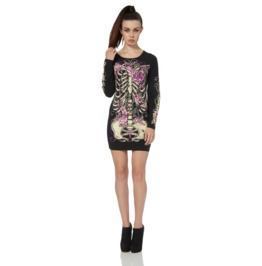 Jawbreaker Heart Roses X Ray Skeleton Tunic Dress