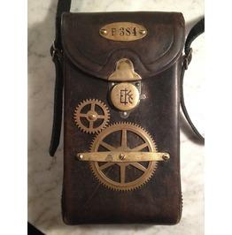 "I Gearz Steampunk ""Adventure Case"" Medium Size Antique Leather Carry Case Bag P 384"