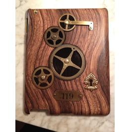 I Gearz Hand Made Apple I Pad 2 Steampunk Neo Victorian Wood Case Brass Gears Turn 119