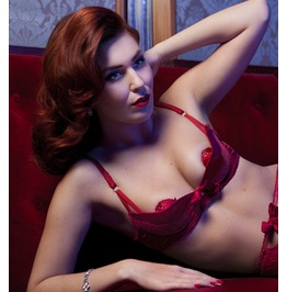 Cher Rouge Red Silk Satin Quarter Cup Padded Bra Red Valentines Lingerie Gift