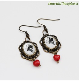 Red Queen Heart Alice Wonderland Earrings