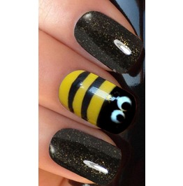 Bees Striped Yellow Black Full Nail Decals Wraps X 10 Awwan006