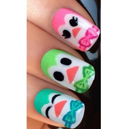 Colourful Owls 1 Full Nail Decals Wraps X 10 Awwan007