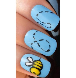Flying Bumble Bee Full Nail Decals Wraps X 10 Awwan008