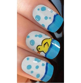 Yellow Rubber Duck Full Nail Decals Wraps X 10 Awwan009