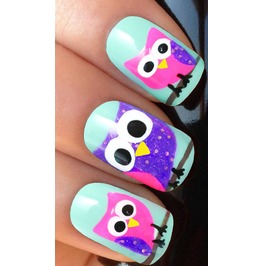 Colourful Owls 2 Full Nail Decals Wraps X 10 Awwan012