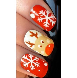 Snowflake Reindeer Full Christmas Nail Decals Wraps X 10 Awwch001