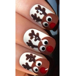 Peeking Reindeer Full Christmas Nail Decals Wraps X 10 Awwch003