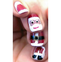 Santa Claus Suit Full Christmas Nail Decals Wraps X 10 Awwch008