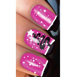 Pink Full Christmas Nail Decals Wraps X 10 Awwch011