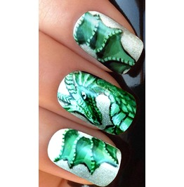 Green Dragon Full Nail Decals Wraps X 10 Awf047
