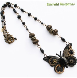 Steampunk Butterfly Necklace ~ Black Conqueror Wings