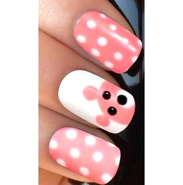 Pink White Teddy Full Nail Decals Wraps X 10 Awg002