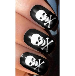 Silver Skulls Nail Decals Wraps X 20 S045