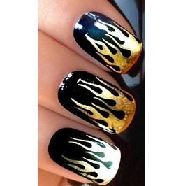 Gold Flames Nail Decals X 20 G077