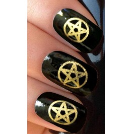 Gold Pentagram Nail Decals X 20 G078