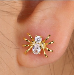 Cute Crystal 18k Gold Plated Spider Earrings V2
