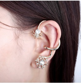 Cute Crystal 18k Gold Plated Spider Ear Cuff