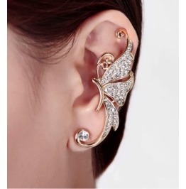 Cute Crystal 18k Gold Plated Buttefly Ear Cuff