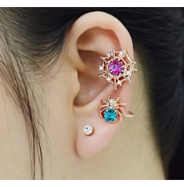 Cute Colorful Crystal 18k Gold Plated Spider Ear Cuff